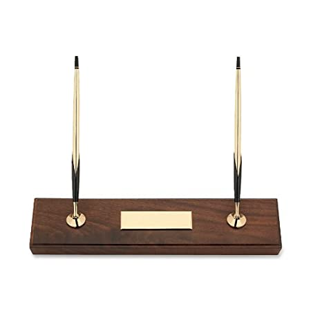 Cross Walnut Finish Double Desk Set With Lustrous Gold Ballpoint Pen & 0.7mm Pencil (5201) by Cross