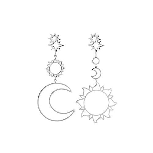 - Opeof Earring Women Fashion Boho Asymmetrical Hollow Star Sun Moon Drop Dangle Earring Jewelry - Silver