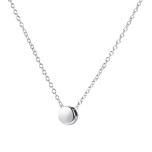Price comparison product image Amkaka Sterling Silver Minimalism Dot Tiny Circle Bead Pendant Necklaces (Silver)