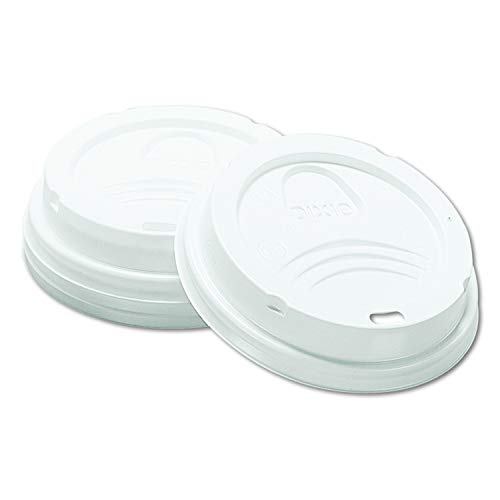 Dixie 8 oz. Dome Plastic Hot Coffee Cup Lid by GP PRO (Georgia-Pacific), White, 9538DX, 1,000 Count (100 Lids Per Sleeve, 10 Sleeves Per Case) - Dixie White Dome