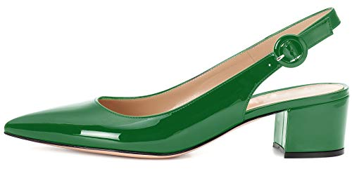 - Slingbacks Heels for Women Patent Leather Heels Slingback Pointed Toe Block Heel Pumps Ankle Buckle Chic Pumps, 2 inch Heel Height Green US10