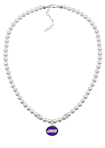 (James Madison Dukes White Glass Pearl Necklace with Enamel Charm)