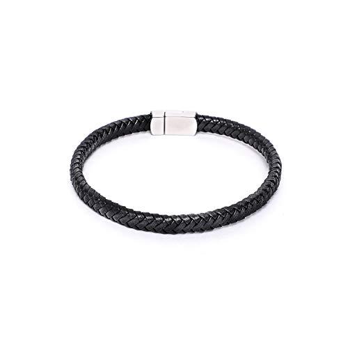 BeBajrang Flat Thin Braided Genuine Leather Mens Linked Bracelet 8x5mm Matte Finish Stainless Steel Magnetic Clasp Lock Plating - Black ()