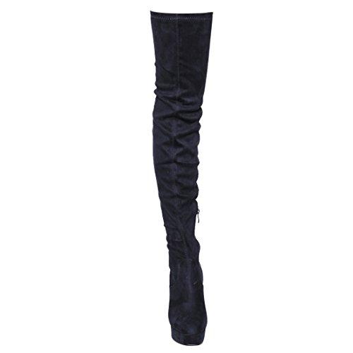 Beston Ej20 Womens Side Zip Tacco Grosso Elastico Aderente Aderente Stivali Alti In Camoscio Blu Scuro