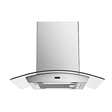 Cavaliere SV218D-I30 30 Island Mounted Stainless Steel/Glass Kitchen Range Hood 900 CFM