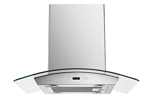 CAVALIERE 30'' Island Mounted Stainless Steel / Glass Kitchen Range Hood 900 CFM SV218D-I30 by CAVALIERE