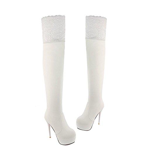 Enmayer Femmes Belle Dentelle Design Talons Hauts Plate-forme Bottes Blanc