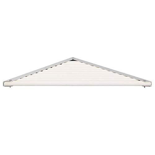 ATR Bathroom Shelf Shower Organiser Wall-Mounted Corner Triangle Wood White Punch Installation (Color : - Basket Steel Brushed Log