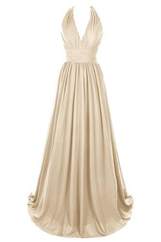 Dresstore Women's V Neck Chiffon Bridesmaid Dress Backless Evening Formal Gowns