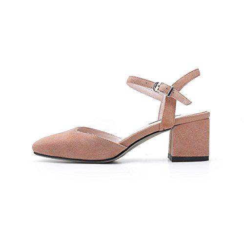 AJUNR Moda/elegante/Transpirable/Sandalias Zapatos de mujer Palabra hebillas Almond 5cm y zapatos Treinta y nueve 39