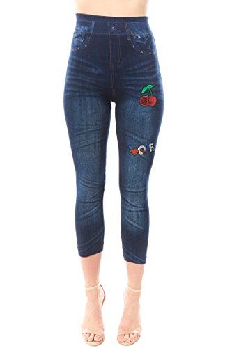 Trinity Jeans Women's High Waist Applique Detail Denim Print Capri Leggings-CherryLove One Size ()