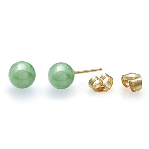 14K Yellow Gold Natural Green Jade Round Stud Earrings (6mm)