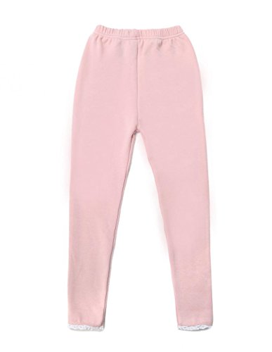 Kid Girls Fleece Lined Leggings Cotton Full Length Warm Pants with Lace Trimming Solid Color