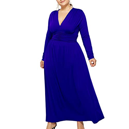 - Lelili Women's Deep V Neck Pleated Plus Size Dress Casual Long Sleeve Loose Fit Solid Color Dress