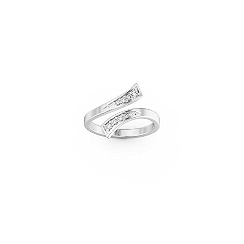 Star Retail 14k White Gold FN 925 Sterling Silver Adjustable Bypass foot beach Toe Ring ()