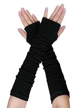 uxcell Women Elbow Length Arm Warmer Gloves Thumbhole Fingerless 1 Pairs Black
