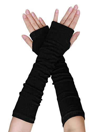 uxcell Women Elbow Length Arm Warmer Gloves Thumbhole Fingerless 1 Pairs Black (Warmer Women Hand)