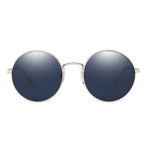 JM Retro Round Sunglasses Metal Flat Mirror