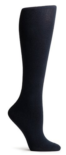 HUE Women's 3-pack Flat Knit Knee Socks,Black,One Size