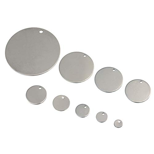Linsoir Beads 40mm Stainless Steel Blank Round Discs Blank Charms Engravable Charms Pendant with ONE Hole 20 pcs/lot