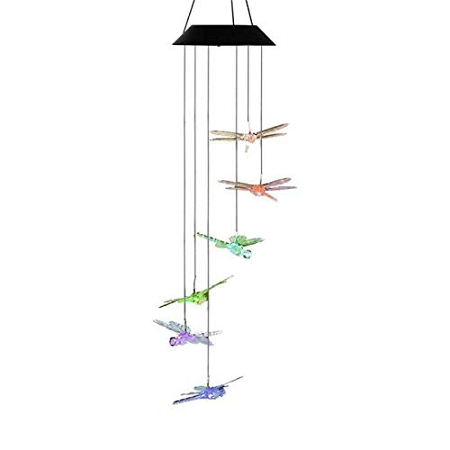Solar Wind Chimes Outdoor Dragonfly,LED Color Changing Solar Lights Outdoor Decor Mobile Wind Spinner Wind Chimes for Home Party Night Garden Decoration