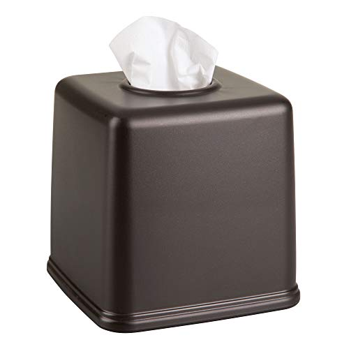 mDesign Plastic Square Facial Tissue Box Cover Holder for Bathroom Vanity Countertops, Bedroom Dressers, Night Stands, Desks and Tables - Bronze
