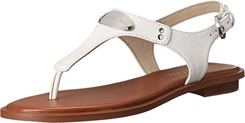 Michael Michael Kors Women's MK Plate Thong Optic White Saffiano Sandal 6.5 M