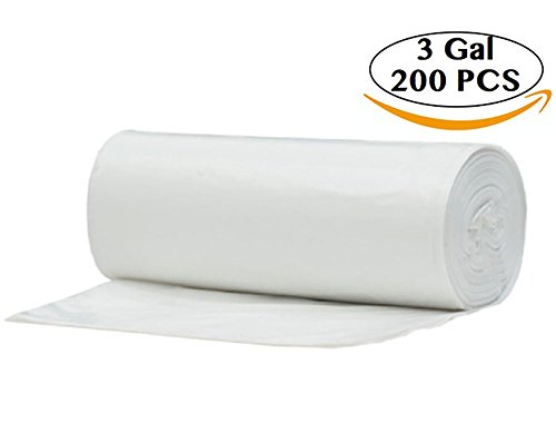 2 - 3 Gallon Clear Small Garbage Trash Bags, 200 Count