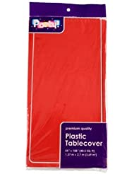 PACK OF 4: Disposable Red Plastic Tablecloths / Table Covers, 54 X 108  Inches