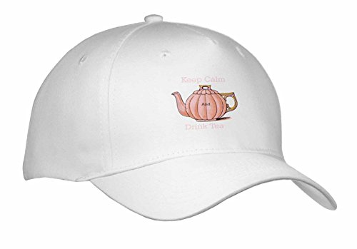 Florene Keep Calm Fun Sayings - Image of Keep Calm And Drink Tea With Vintage Teapot - Caps - Adult Baseball Cap (cap_238658_1)
