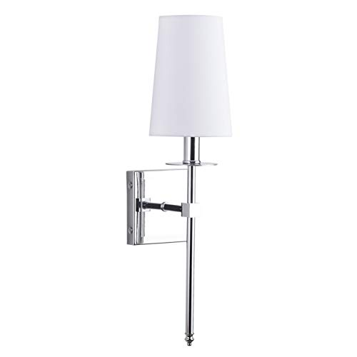 Torcia Wall Sconce 1-Light Fixture with Fabric Shade - Chrome - Linea di Liara - Wall Chrome