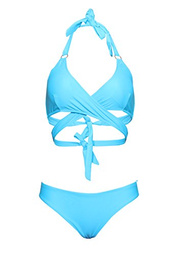 Sexy Front Cross Solid Halter Bikini Two Pieces Swimsuit For Junior Girls-KJX028-BLE2