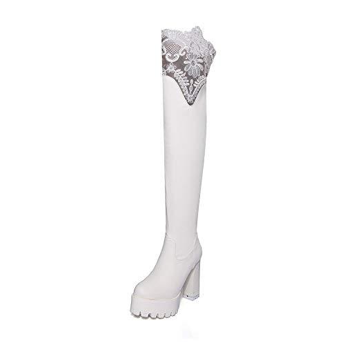 8f4d838a3 Botas largas de tacón Alto de Plataforma con Cordones para Mujer ...