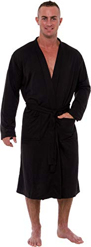 Ross Michaels Men's Lightweight Robe - Luxury Knit Sleep Jersey Bathrobe w/Tie Waist (Black, XXXL) ()