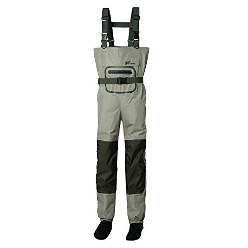 8 Fans Men's Fishing Chest Waders - 3-Ply Durable Breathable and Waterproof with Neoprene Stocking Foot Insulated Chest Waders, for Duck Hunting, Fly Fishing, A Mesh Storage Bag Included Size XL