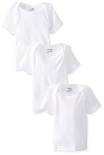 Gerber Unisex-Baby Newborn 3 Pack Pullon Short Sleeve Shirt, White, 6-9 Months