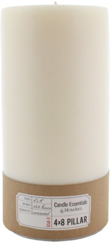 HomArt Pillar Paraffin Wax Candle, 4-Inch by 8-Inch, Ivory