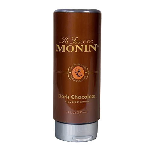 Monin - Gourmet Dark Chocolate Sauce, Velvety and Rich, Great for Desserts, Coffee, and Snacks, Gluten-Free, Vegan, Non-GMO (12 Ounce) ()