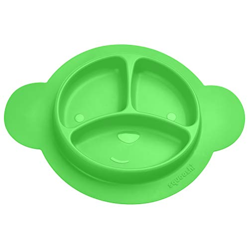 - Squooshi Silicone Divided Toddler Plates - Easy to Clean - Dishwasher and Microwave Safe - Soft, Skid Resistant and Unbreakable - FDA Certified Silicone - Green