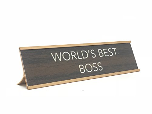 Aahs Engraving World's Best. Novelty Nameplate Style Desk Sign (Brown/Gold, World's Best Boss) by Aahs Engraving