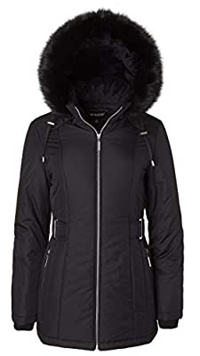 Women's Midlength Down Alternative Puffer Coat Fur Trim Plush Lined Detachable Hood