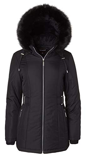Women's Midlength Down Alternative Puffer Coat Fur Trim Plush Lined Detachable Hood - Black (Medium)