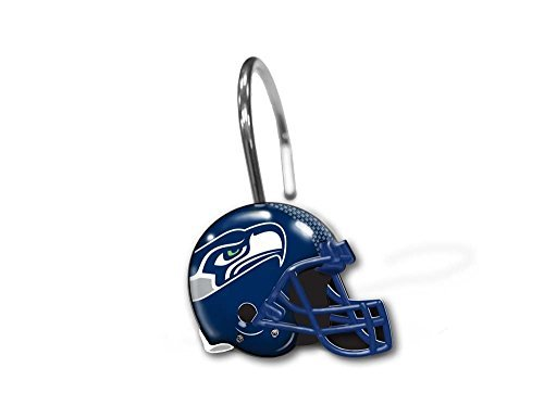 (Northwest 942 Wings Seattle Seahawks NFL Football Helmet Shower Curtain Rings Hooks)