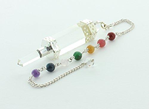 Crystal Quartz Wand-style with Chakra (Aromatherapy Wand Pendant)