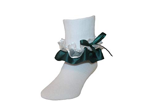 Ruffle Ankle Socks with Satin & Organza in Assorted Colors for Girls (9-11 Girls, Hunter - Ruffle Organza Socks