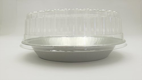 9'' Heavy Disposable Aluminum Pie Pans w/ Choice of High Dome or Low Dome Lids. Made by HFA #409DL (100, W/ Low Dome Lids) by Handi-Foil (Image #1)