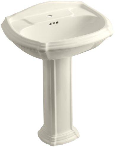 KOHLER K-2221-1-47 Portrait Pedestal Bathroom Sink with Single-Hole Faucet Drilling, Almond