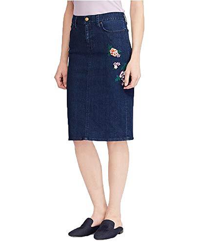 Lauren Ralph Lauren Denim Straight Skirt (Pacific Indigo Wash, 4) -