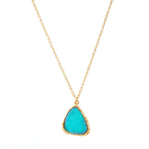 Spinningdaisy Gold Color Lapis Look Necklace Turquoise Color