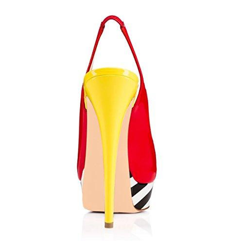 Onlymaker Kvinders Peep Toe Slingback Høj Hæl Pumps Stiletter Sandaler Red Af Gul 60IxtBTEwn
